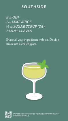 Cocktail Flash Cards — Southside, check out more cocktails at. Drink Bar, Bar Drinks, Alcoholic Drinks, Beverages, Fancy Drinks, Cocktail Menu, Cocktail Recipes, Alcohol Drink Recipes, Silvester Party