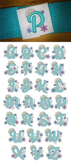 This beautiful and dainty princess-themed applique alphabet is perfect for anything you can conjure up for your little princess! Available for instant download at www.designsbyjuju.com