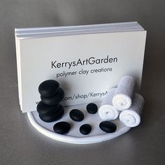 Spa Polymer Clay Business Card Holder