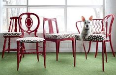 love these red recycled mismatched chairs