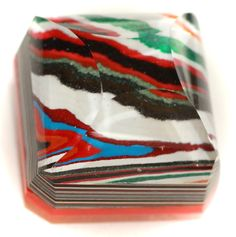 Button ~ Fordite, with Faceted Glass Pieces Laminated Together - Made By KPHoppe - medium by KPHoppe on Etsy