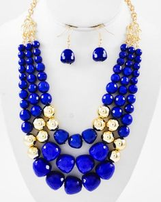 Gold Tone / Blue Acrylic & Gold Ccb (bead) / Lead Compliant / Multi Row / Graduating / Necklace & Fish Hook Earring Set