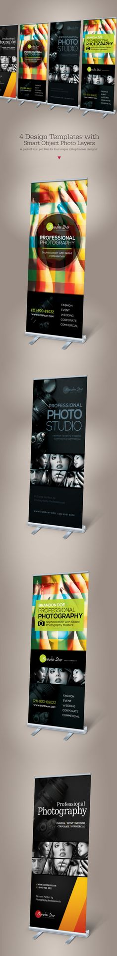Buy Photography Roll-up Banners by on GraphicRiver. Professional Photography Roll-up Banners These templates are perfect for photography service or for professional phot. Pop Up Banner, Best Banner, Web Design, Graphic Design Layouts, Layout Design, Branding, Rollup Design, Standing Banner Design, Standee Design