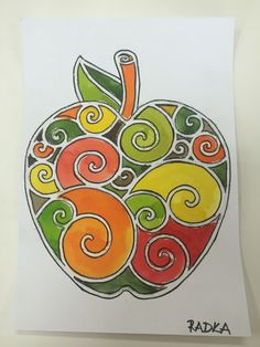 Jablko Halloween Crafts For Kids, Fall Crafts, Diy And Crafts, Easy Art Projects, Fall Projects, Fruit Picture, 6th Grade Art, Apple Art, How To Make Drawing