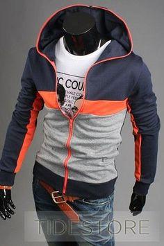 c10867543 Patchwork Zip-Front Long Sleeve Hoodie For Men Zip Ups