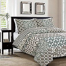 image of Emelina Reversible Quilt Set in Grey