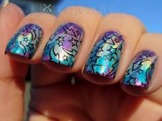 Holo water marble + stamping = WIN