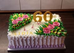 Birthday Cake For Mum, Bithday Cake, Beautiful Birthday Cakes, Creative Cake Decorating, Cake Decorating Videos, New Cake Design, Sheet Cake Designs, Rectangle Cake, Fantasy Cake
