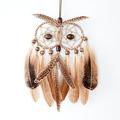 Owl Dream Catcher, Dreamcatcher, handmade, brown owl with feathers, wooden beads, unique design