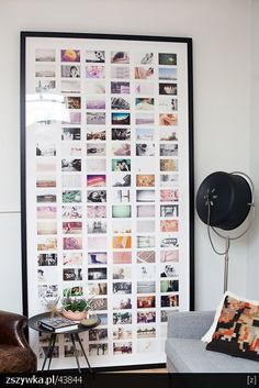 An oversized frame full of prints