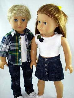 American Girl Doll Clothes  Crop Top Jean Skirt by sewurbandesigns