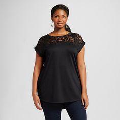 Women's Plus Size Burnout T-Shirt - Ava & Viv - Black