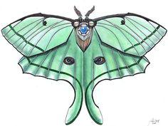 Lunar Moth Fine Art Giclee Print by Zendustria on Etsy