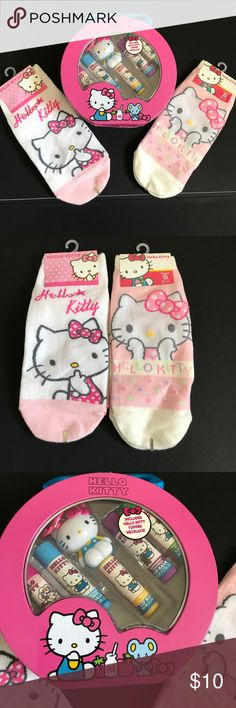 New Cute hello kitty socks and new lip balm set New Cute hello kitty socks and new lip balm set in decorative container Sanrio Other