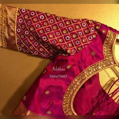 Beautiful maroon color designer blouse with buti design hand embroidery kundan and bead work. Ping on 9884179863 to book an appointment. Wedding Saree Blouse Designs, Pattu Saree Blouse Designs, Simple Blouse Designs, Saree Blouse Neck Designs, Saree Wedding, Blouse Simple, Bridal Lehenga, Work Blouse, Blue Blouse