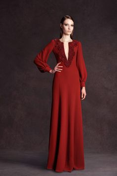 Andrew Gn Pre-Fall 2013 V-Neck Long Sleeve Gown Profile Photo