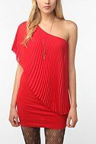 Staring at Stars Pleated Chiffon One-Shoulder Dress. Red- out of my norm!