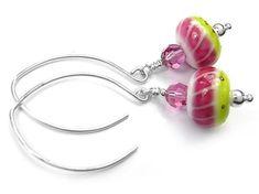 Lampwork Glass Earrings - Watermelon Swarovski Crystal Beads, Silver Beads, Glass Earrings, Glass Beads, Minimalist Jewelry, Designer Earrings, Earrings Handmade, Sterling Silver Jewelry, Watermelon
