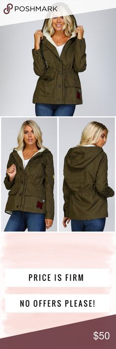 ❄️Winter Special❄️ Olive Fur Lined Military Jacket Faux Shearling Fur lined hoodie jacket Military style Embroidery patch embellishment 4 front flap pockets with snap button closure 6 buttons for front closure Draw cord tie at waist with tunnel Long sleeve cuffs with button closure 100% cotton Fur lining is 100% polyester Model is 5` 10″ 34B-24-34 and wearing a size Small Olive utility bomber jacket Boutique Jackets & Coats Utility Jackets