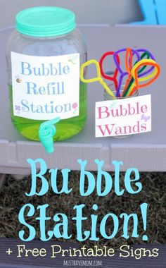 DIY Bubble Refill Station With Free Printable Signs, homemade bubble recipe and DIY bubble wands!
