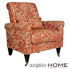 @Overstock.com - angelo:HOME Harlow Mango Floral Arm Chair - The angelo:HOME Harlow accent chair was designed by Angelo Surmelis. The Harlow chair has a slightly rounded arm and is covered in a rust autumn clay floral woven design on a linen beige background woven fabric.  http://www.overstock.com/Home-Garden/angelo-HOME-Harlow-Mango-Floral-Arm-Chair/8441116/product.html?CID=214117 $300.00
