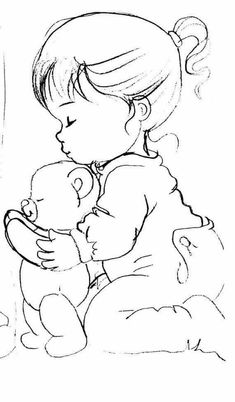 ideas embroidery girl drawings for 2019 Cute Coloring Pages, Adult Coloring Pages, Coloring Books, Embroidery Art, Embroidery Patterns, Easy Drawings, Girl Drawings, Relaxing Art, Embroidery Techniques