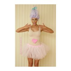 DIY Troll Costume I had the wig pinned up from #wasphair And put everything together myself. #diy #costume #troll #trolldoll #cute #pastels #wig #milkshake #fairyfloss #cottoncandy