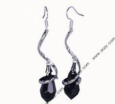 Genuine 925 Sterling Silver Charm Black Crystal Dangle Earring Eardrop