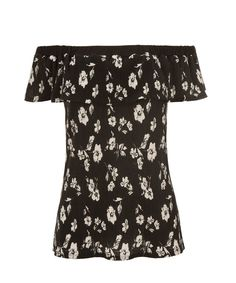 Off Shoulder Floral Top, Black/White Print #rickis #spring #spring2017 #springfashion #rickisfashion #charmschool #loverickis