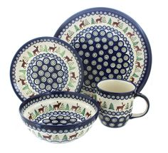 Blue Rose Polish Pottery Reindeer Pine 16 PC Dinnerware Set for sale online Dinnerware Sets For 12, Square Dinnerware Set, Mug Dinner, Dinner Sets, Ceramic Bowls, Stoneware, Christmas Dinnerware, Painted Cups, Hand Painted