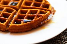 whole wheat vegan pumpkin waffles with a little touch of apple - i really need to invest in a waffle maker...
