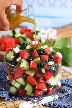 Ready in less than 10 minutes, this refreshing and easy Watermelon Blueberry Feta Salad with Cucumber is like summer in a bowl. Healthy and simple! #summersalad #healthyrecipes #summerrecipes #healthyeating #healthyfood #fitnesstip