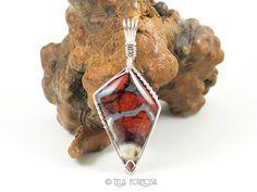 Rare Tabu Tabu Jasper Pendant Brecciated Red Pendant Natural Stone Pendant Cabochon Pendant Sterling Silver Wire Wrapped Jewelry Handmade