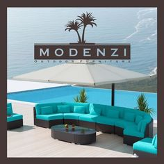 MODENZI 11G Modern Patio Wicker Turquoise Set Outdoor Sofa Furniture Couch Chair #MODENZI