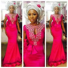 Check out this Long Gown Aso Ebi Lace Styles…