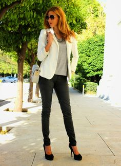 Shop this look on Lookastic:  http://lookastic.com/women/looks/blazer-skinny-pants-crossbody-bag-necklace-sunglasses-pumps-crew-neck-t-shirt/5413  — White Blazer  — Black Leather Skinny Pants  — Grey Crossbody Bag  — Silver Necklace  — Brown Sunglasses  — Black Suede Pumps  — Grey Crew-neck T-shirt