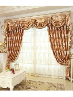 Baltic Jacquard Yellow Blue Coffee Color Fl Waterfall And Swag Luxury Valance Sheers Living Room Curtains Pair One Velvet