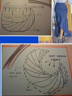 Circle Skirt Pattern, Pattern Draping, Techniques Couture, Sewing Techniques, Skirt Patterns Sewing, Clothing Patterns, Sewing Hacks, Sewing Tutorials, Pattern Cutting