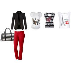 All of the shirts work so well with this look. Created by foreverkendrick on Polyvore