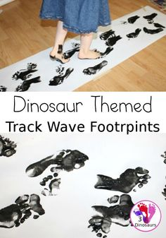 Dinosaur Themed Footprint Activity - having kids make their own track wave of footprints to learn more about dinosaur footprints - 3Dinosaurs.com #3dinosaurs #footprints #dinosaursforkids #grossmotor Dinosaur Activities, Fun Activities To Do, Toddler Activities, Space Activities, Farm Animals Preschool, Toddler Preschool, Preschool Activities, Toddler Crafts, Fun Arts And Crafts