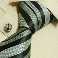 NEW Designer Hand Made Blue Black Stripes Ties for Men Jacquard Woven Pure Silk Mens Necktie and Cufflinks Set with Matching Gift Box B1026