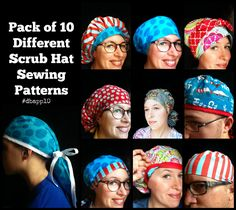 Scrub Hat Sewing patterns Tutorial and template to cut out. Download PDF file to make TEN different Surgical Scrub hats. Sewing Patterns for ten different styles of scrub hat is included in these two PDF file downloads. There are 5 pdf files that will make ten different styles of hats. Bouffant Full Coverage Elastic Back Hat Ponytail Bouffant Basic Ponytail Reversible Full Coverage Reversible Bow Front Scrub Hat Ladies Tieback Hat Unisex hat Men's Tieback hat Pixie Style Tieback Three of…