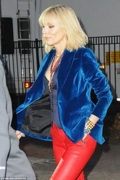 Edgy: Cate looked edgy in the outfit, which was completed with a bright blue velvet blazer