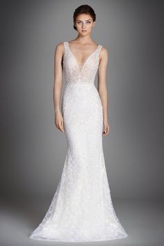 Lazaro - Alexis Mermaid wedding dress in ivory crystal embroidered lace with…