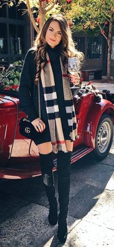 #winter #outfits women's Burberry scarf, black long-sleeved dress