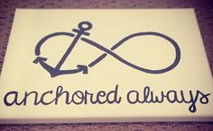 Anchored always canvas with navy writing by CraftingByLauren, Canvas Crafts, Diy Canvas, Canvas Art, Painted Canvas, Canvas Ideas, Canvas Paintings, Beach Canvas, Painted Wood, Art Projects