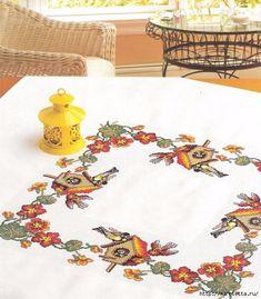 Pájaros en el mantel.  Esquemas de Punto de Cruz (1) (534x610, 252KB)