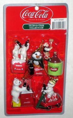 Coca-Cola Trim-A-Tree Mini Ornaments 14 Different Coke Christmas Santa Penguin Polar Bear Seal NIB $20
