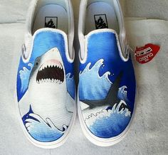 Shark Shoes Hand Painted Shoes Slip-on Painted Canvas Shoes,Slip-on Painted Canvas Shoes