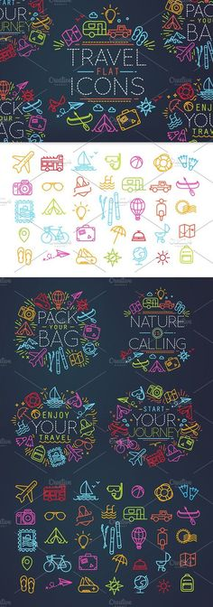 Travel flat icons by Anna on @creativemarket